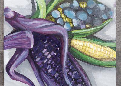 Corn, Huitlacoche, Maíz Morada (artwork by Dani Coronado)