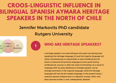 Section of poster Cross-Linguistic Influence in Bilingual Aymara Heritage Speakers (Jennifer Markovits)