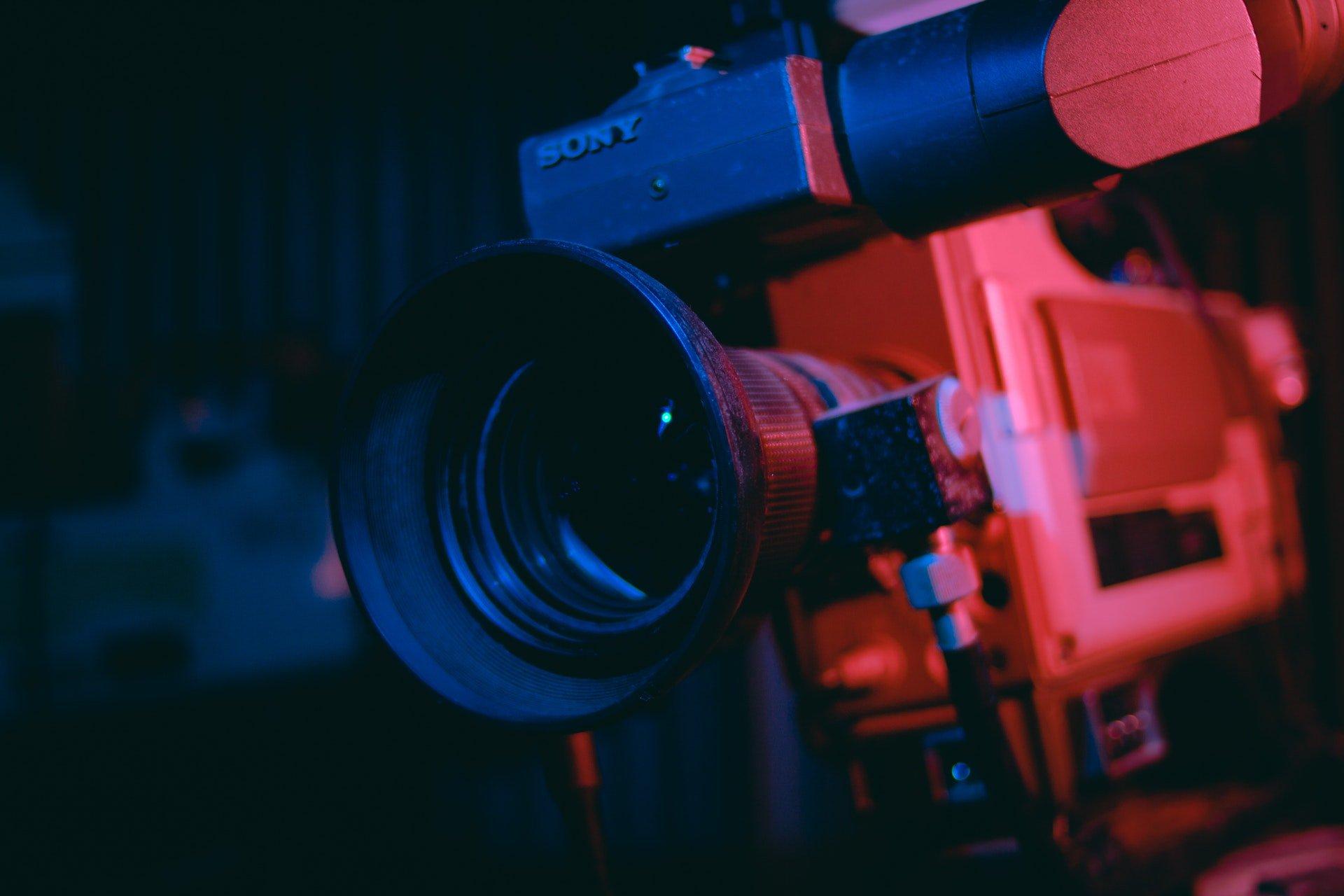 Close up of a video camera